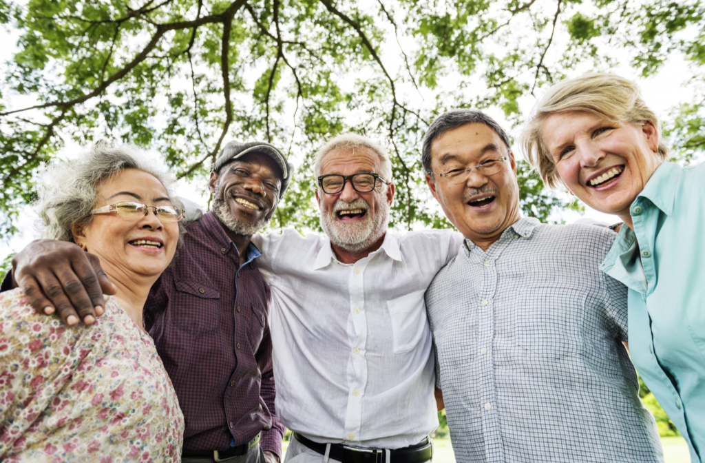 Group of older adults enjoying their time together in a senior living community